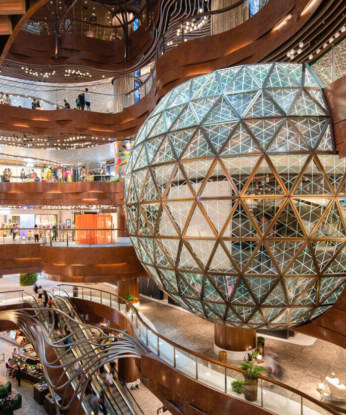 Interior of K11 Musea Shopping Mall in Hong Kong